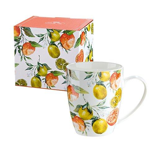 GILDE Tasse Teetasse Kaffeetasse Frühstückstasse im Zitronen & Orangendesign, 300 ml