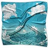 Merle House Green Sea Cloud Design Damen bedruckter quadratischer Schal Kopfschmuck Hals Satin Schals Wickeltuch Halstuch
