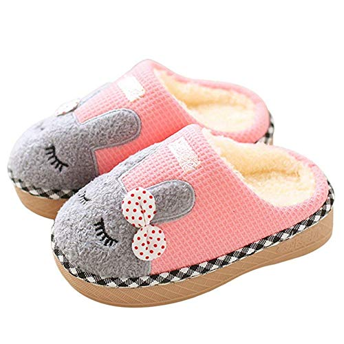 SITAILE Cute Home Shoes, Girls Boys Fur Lined Indoor House Slipper Bunny Warm Winter Toddler Slippers Apink Size 5-5.5 Toddler
