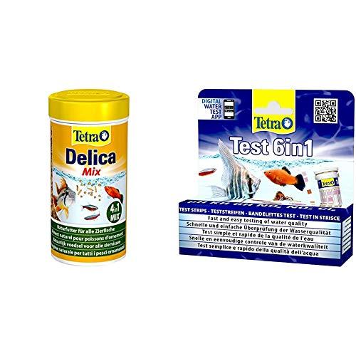 TetraDelica Natural Snack 4-in-1-Mix, Naturfutter-Mischung Vier separaten Fächern, 250 ml Dose & Test 6in1 Wassertest, schnelle und einfache Überprüfung der Wasserqualität, 1 Dose (25 STK.)