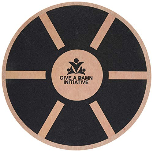 Give A Damn Initiative 14 Inch Wooden Wobble Balance Board Portable and Compact - Exercise at Gym or Standing Office Desk - Fitness Stamina Dance Motion Trainer - Ankle Physical Therapy Workout