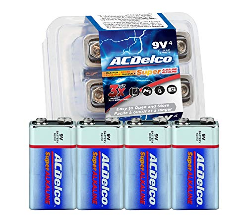 ACDelco 9 Volt Batteries, Super Alkaline Battery, 4 Count Pack