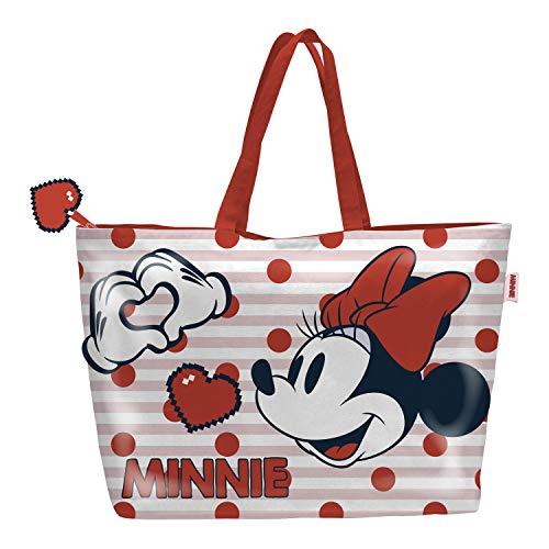 ARDITEX WD12937 Bolsa de Playa de 48x32cm con Cremallera de Disney-Minnie