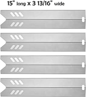 SUONA Grill Heat Plate Heat,Shield Replacement for Dyna-glo DGF510SBP, DGF510SSP, Backyard BY12-084-029-98,Uniflame GBC1059WB,BHG,Stainless Steel Flame Tamer Burner Cover,15 x 3 13/16 inch, 4-Pack …