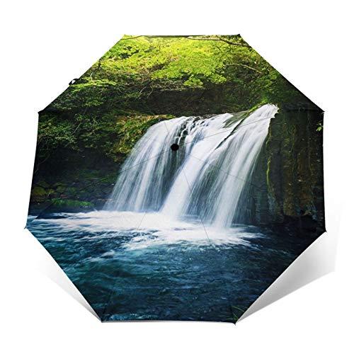 Paraguas Plegable Automático Impermeable Japón Cascada Japonesa Profunda, Paraguas De Viaje Compacto A Prueba De Viento, Folding Umbrella, Dosel Reforzado, Mango Ergonómico
