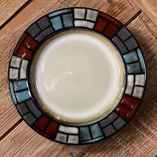Plato de cocina occidental plato de carne plato de postre horno de cocción con parrilla de cerámica esmaltada pintado a mano (diámetro 20 cm )