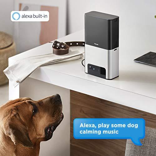 [Nuevo 2019] Petcube Bites 2 cámara Wi-Fi para mascotas con dispensador de dulces y Alexa integrado, para perros y gatos. Video HD 1080p, vista de habitación completa de 160°, audio de 2 vías, alertas de sonido/movimiento, visión nocturna, monitor de mascotas