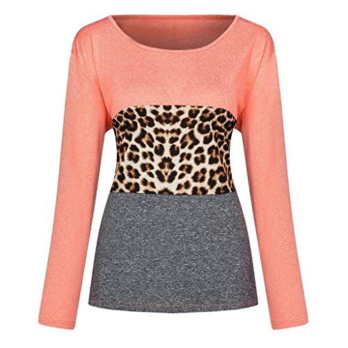 LOPILY Langarm Shirts Damen Leopard Muster Oberteile Damen Farbblock Patchwork Bluse Damen Lässige Tshirts Damen Herbst Long Shirts Damen Elegant Sexy Figurbetonte Oberteile (Orange, 42)