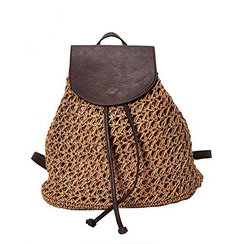 Demarkt Mochila de paja para mujer, bolsa de paja para verano, playa, bolso de paja de ratán, mochila de día, marrón (Marrón) - N6Z41H15467IWR5FB3N