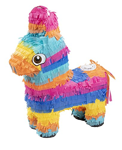 Blue Panda Small Donkey Pinata, Fiesta, Cinco de Mayo, Birthday Party Supplies, 12.5 x 15.7 x 4.7 Inches