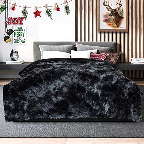 "Lvylov Decorative Soft Fluffy Faux Fur Blanket,Reversible Long Shaggy Cozy Furry Blanket,Comfy Microfiber Accent Plush Fuzzy Blanket for Sofa/Couch/Bed (Black Gray, Full/Queen - 90' x 90"")"