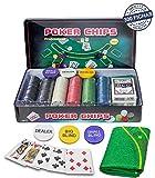 Professional Set de póker Caja de Metal, 300 fichas de pókerr, 2 Cubiertas, botón de repartidor, ciega pequeña, Gran ciega, tapete de Juego