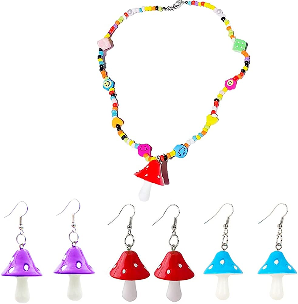 Colorful Mushrooms Earrings Necklace Set Bohemian Cute indie Resin Cartoon Vegetables Pendant Multicolor Beads Handmade Choker for Women Girls Gift(4Pcs)