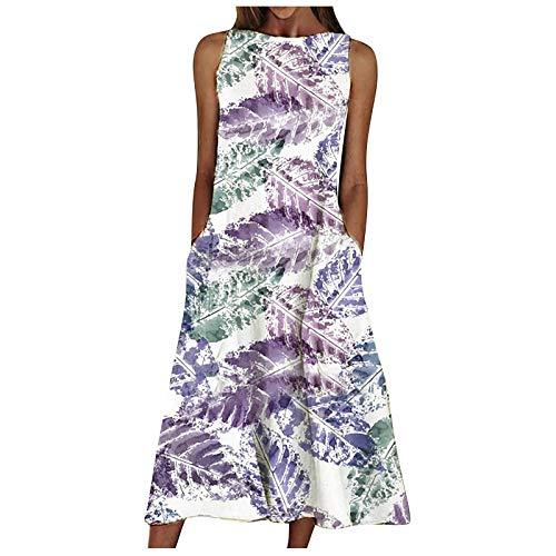 erthome1 Langes Kleid Damen Sommer Rundhalsausschnitt Ärmelloses, szenisches mit Blumen bedrucktes Taschenkleid rmel Floral Spitzenkleid Sommerkleider Boho Vintage Party Maxikleid