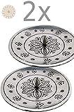 2er Set Orientalischer Kerzenständer Kerzenhalter Silber Jaini Rund 12cm Groß | Marokkanischer Metall Kerzenleuchter für Taufe, Kommunion, auf Gedeckter Tisch als Tischdeko im Wohnzimmer 2 Stück - 5