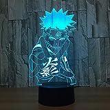 Naruto Anime 3D Night Light Creativo Acrílico Ilusión 3D Lámpara LED 7 Color que cambia USB Lámpara de escritorio táctil para regalo de niño A-1579