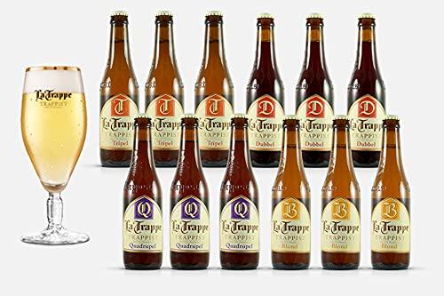 LA TRAPPE Mix pack, Verschiedene Trappistenbiere aus Berkel-Enschot, Blond, Dubbel, Tripel, Quadrupel, 12x 0,33 Liter + Glas
