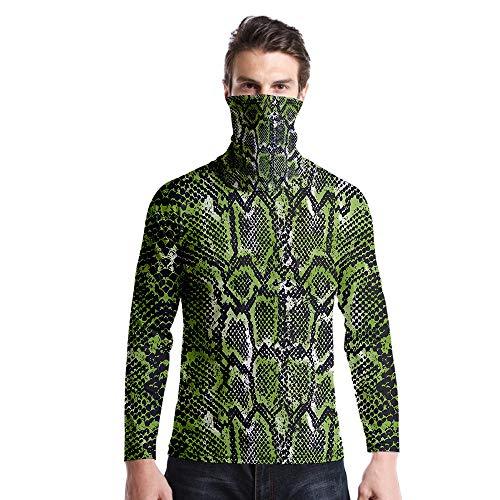 T-Shirt À Manches Longues,Casual Long Sleeve Col Rond Imprimé Motif Serpent Vert Unisex T-Shirt Tops Imprimé Chemisier Body Shirt avec Écharpe Hommes Femmes Automne Hiver Pullover Sweatshirt,As