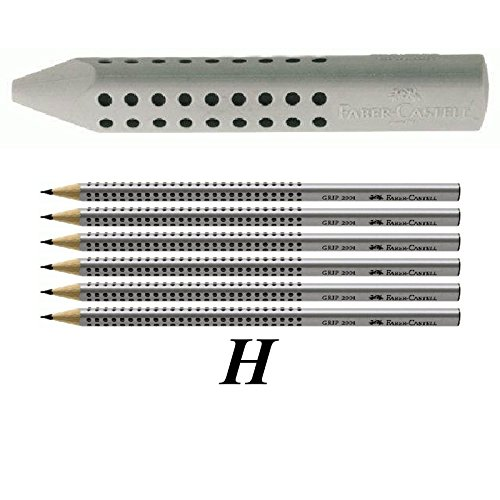 Faber-Castell 187100 - Dreieckradierer Grip 2001, grau + 6 Bleistifte H