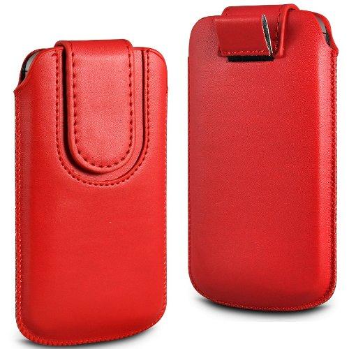 N4U Online rot Premium-PU-Leder Pull Tab Flip Tasche für Huawei Ascend P1 mit magnetischem Verschluss Strap