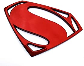 Fan Emblems Superman Logo 3D Car Emblem Red Chrome, Batman v Superman: Dawn of Justice BvS Automotive Sticker Decal Badge Flexes to Fully Adhere to Cars, Motorcycles, Laptops, Windows, Most Things