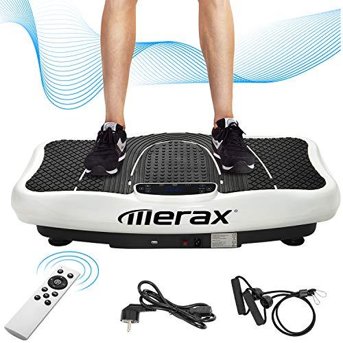 Merax Vibrationsplatte mit Leisem Motor,LCD Display,5 Trainingsprogramme 180 Stufen,Bluetooth Lautsprecher,Inkl. Fernbedienung, Trainingsbänder,belastbar bis 150 kg (Weiß)