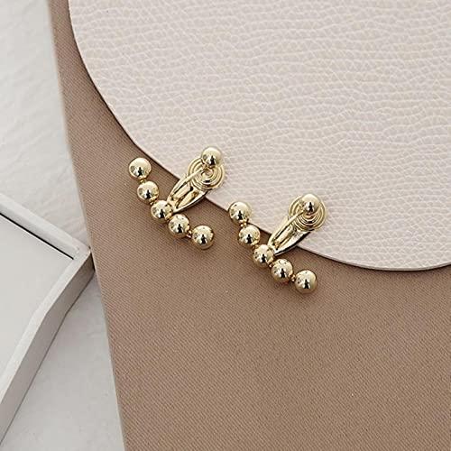 LOKILOKI Orecchini A Clip con Perline Color Oro su Orecchini Moda Donna Cute Mosquito Coil Clip Ear Cuff Orecchini in Metallo Nuovo 2 Way Wear