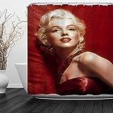 CICIDI Marilyn Monroe Duschvorhang mit rotem Kleid, sexy Film, Stern, roter Hintergr&, Vintage-Stil, klassische Göttin Dez, 183 x 183 cm
