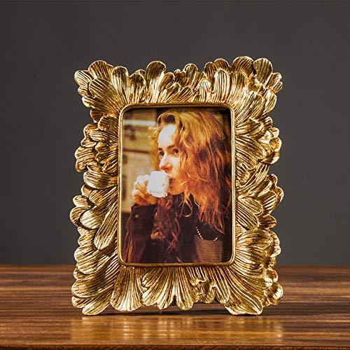 DIAZ decoratie ornament retro hars fotolijst gouden fotolijst home decor fotografie rekwisieten bruiloft foto's frames geschenken bureau, goud, 21.3x16.5cm