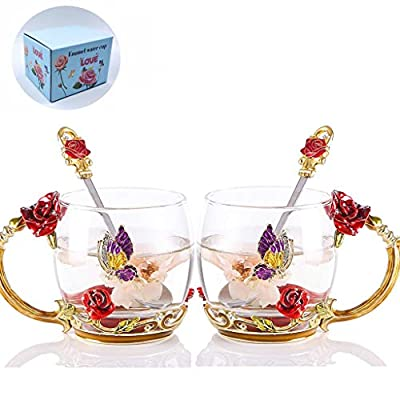 WRANKO Flower Tea Cup Set for Women, Enamel Glass Coffee Mugs with Butterfly Rose, Handmade Leed-Free Teacups Drinking Mugs Gift for Grandmother (11oz, 2 Pack)