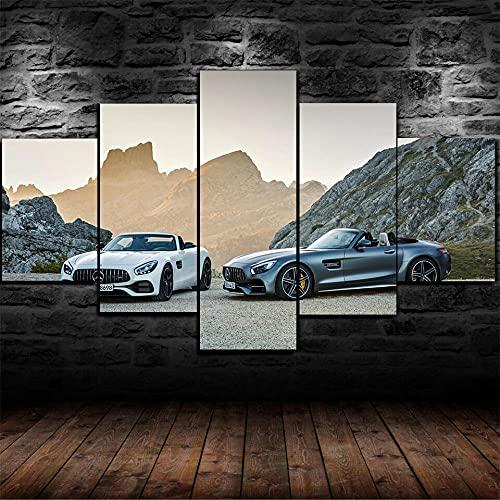 KJHJKH Mercedes-Benz Amg Supercar Cuadro sobre Lienzo 5 Piezas Impresión en Lienzo HD Cuadro De Pintura Póster De Arte Moderno Decoración de Pared.(Con Marco 150x80 cm)