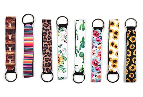 koboome 8 Pack Neoprene Wristlet Keychain Lanyard Neoprene Key Chain Holder