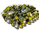 Rhinestone Paradise 100 canicas verdes transparentes, mezcla de canicas, bolas decorativas de cristal, 16 mm, color verde oscuro y transparente, bolas decorativas de cristal