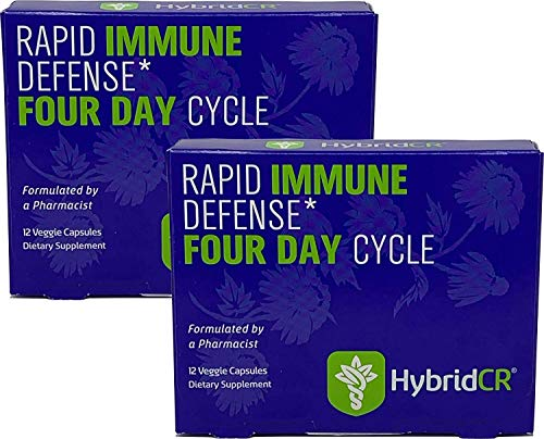 HybridCR Rapid Immune Defense by Hybrid Remedies | Pharmacist Formulated Natural Herbal Formula to Support Immune Response | Gluten-Free Non-GMO Natural Remedy | 24 Capsules in 2 Dose Packs…