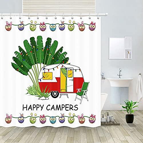 RV de Dibujos Animados y Camping Cortina de Ducha de baño,poliéster Impermeable y de Secado rápido,patrón de Alta definición,12ganchos,180X180cm,decoración del hogar