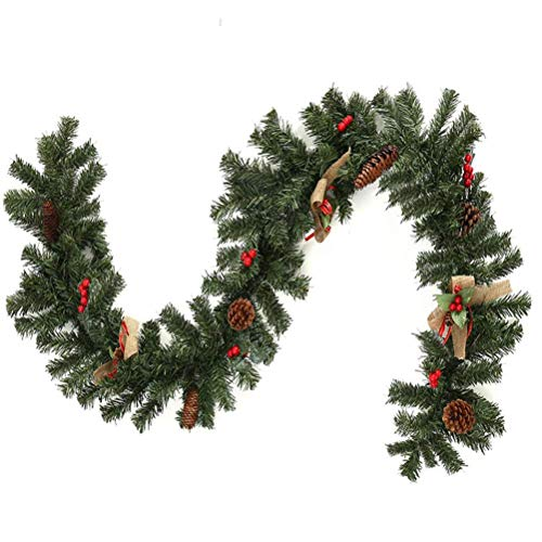 1.8M Christmas Decorations Garland with Lights, Wisvis Prelit Garlands with Led Light Battery Operated Bar Tops Christmas Tree Hanging Ornaments Party Supplies for Ceiling Fireplaces Doors Stairs