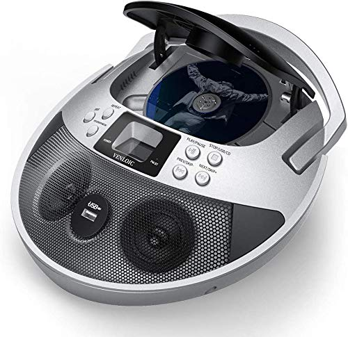 CD Player, CD Player Boombox Portable, VENLOIC Portable CD Player Boombox with USB, Radios CD Players for Home Small, Gifts for Men/Women/Mom/Dad