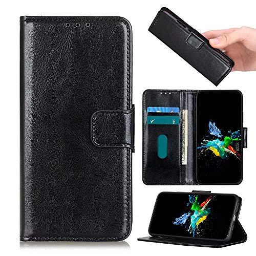 HUUH Etuis hoezen compatibel met Huawei Y8s, [kaartsleuven] [standaard] [schokabsorberende bumper] lederen flip-portemonnee telefoonhoes(zwart)