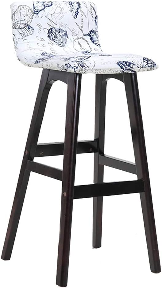 2021 new Solid Wood Barstool White with Dining Chair Backrest Modern Mini Spring new work one after another