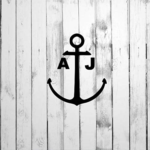 DONL9BAUER Decal, Boat Anchor Sticker with Custom Initials Car Stickers Vinyl Auto Scratch Cover Car Decal for Home Truck Computer Laptop Travel Case Tumbler Door Window Bumper Decor
