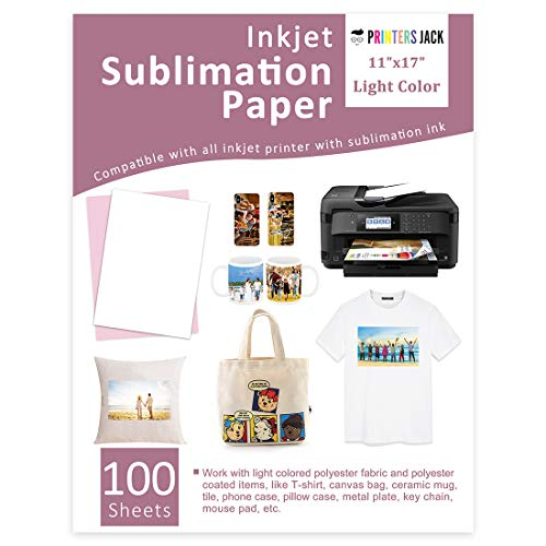 Sublimation Paper 11x17 inches 100 Sheets Compatible with Epson, Sawgrass & Ricoh Inkjet Printer with Sublimation Ink Heat Transfer Paper Sublimation for Mugs T-shirts Light Fabric
