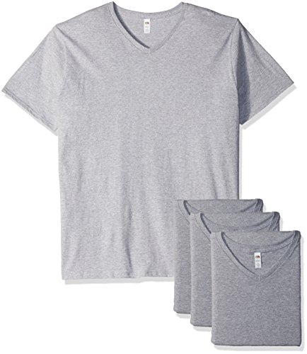 Fruit of the Loom Men's V-Neck T-Shirt (4 Pack), Athletic Heather, Small