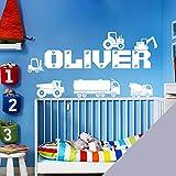 Adhesivo para pared personalizable con nombre de niños, diseño de camión, camioneta, tractor, excavadora, grúa, coches (sólo escríbenos un mensaje con el nombre)., gris claro, Medium (580x150mm)