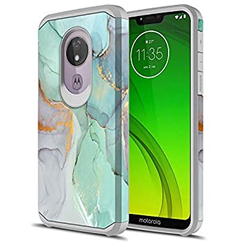 Moto G7 Play Case Sofer Hybird Drop Protection Sleek Slim Dual Layer Shockproof Colorful Graphic Armor Case for Motorola Moto G Play 7th Generation  Green Marble