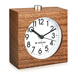 Navaris Wood Analog Alarm Clock - Square Battery-Operated Non-Ticking Clock with Snooze Button and Light - Dark Brown