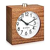 Navaris Reloj analógico de Madera con función Snooze - Despertador Retro en Forma de...