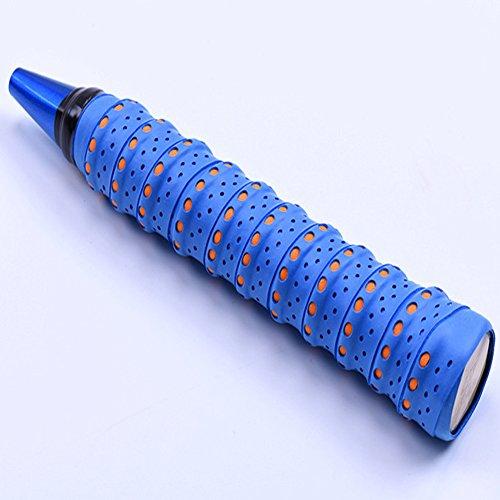Dengofng - Cinta de agarre multiusos PU accesorios antideslizantes para bádminton profesional transpirable perforado deportes olorful (negro), No nulo, azul