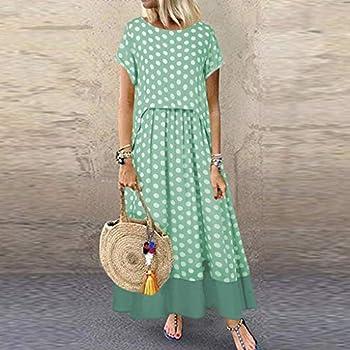 Robe longue à manches courtes et col rond imprimé patchwork à pois et ourlet plissé -  Vert -  XXXL