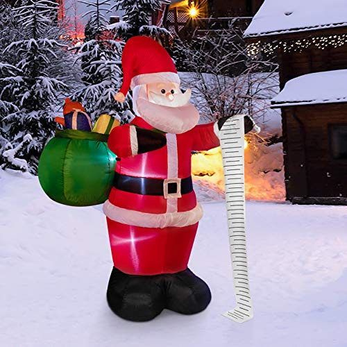 Decorlife 6ft Inflatable Santa Claus Outdoor Christmas Decorations with Built-in LED Lights, Santa Blow Up for Christmas Yard Decorations