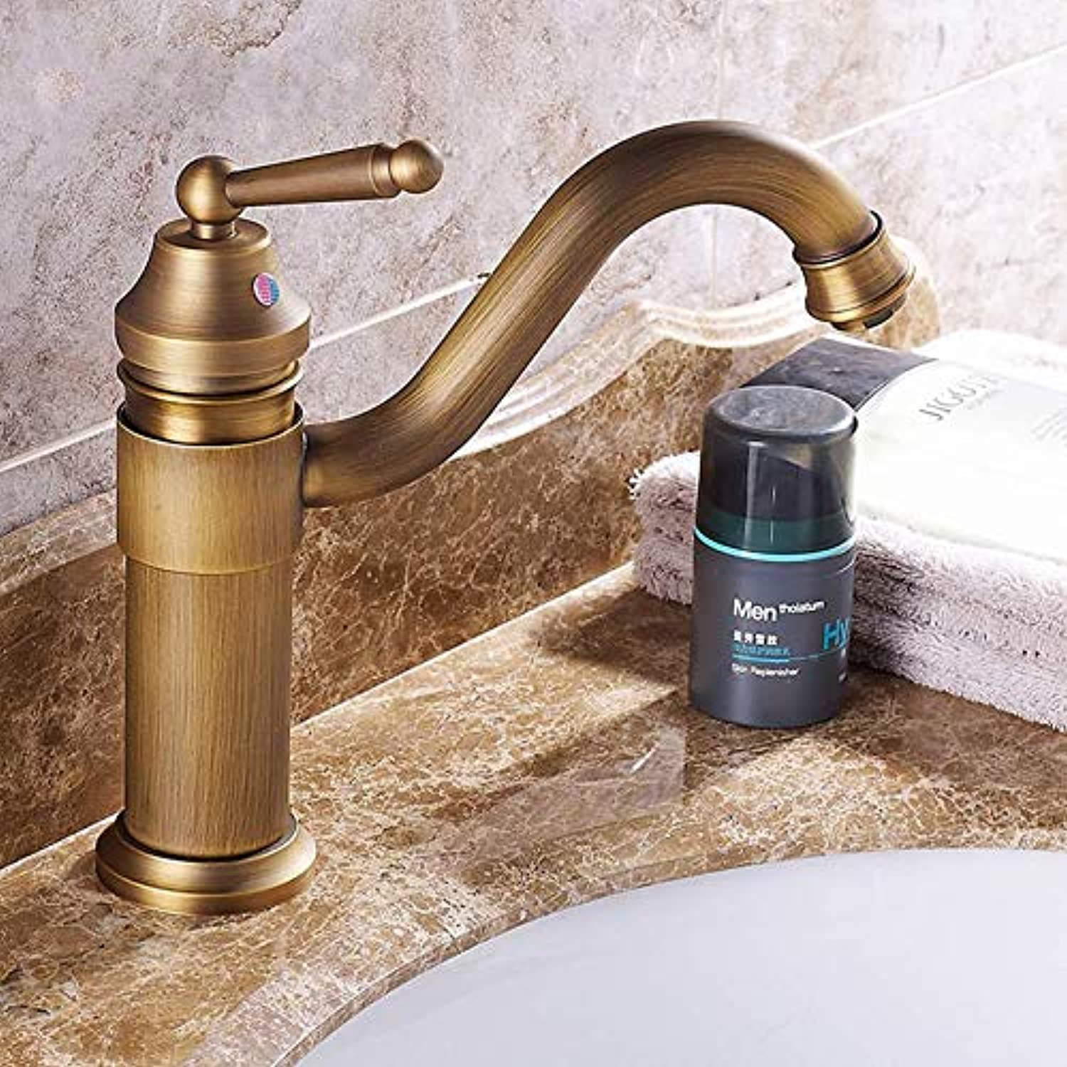 Gcbpwh tap Basin Faucets Bathroom Mixer Deck Mounted Single Handle Single Hole Bathroom redatable Faucet Brass Hot and Cold Tap